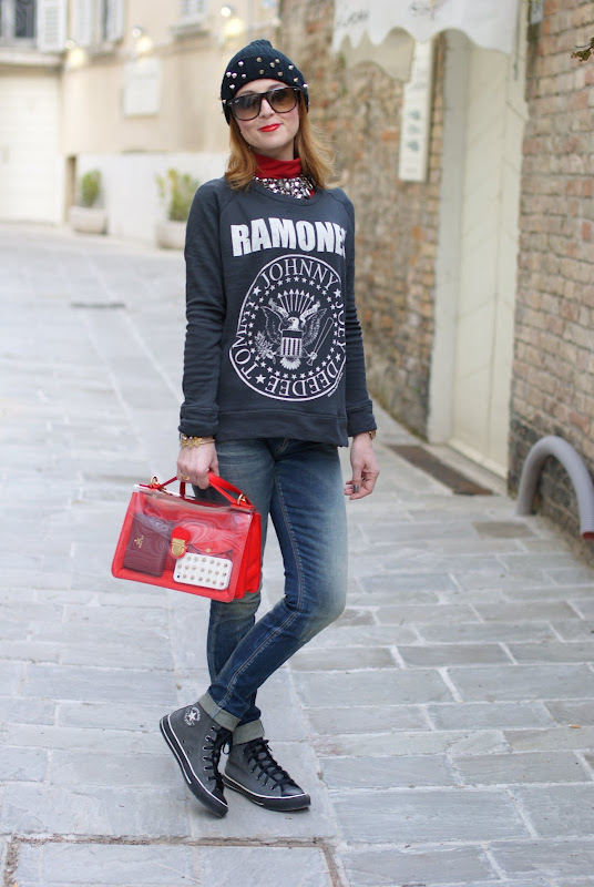 Ramones sweatshirt, Asos studded beanie, Marc by Marc Jacobs see-thru bag