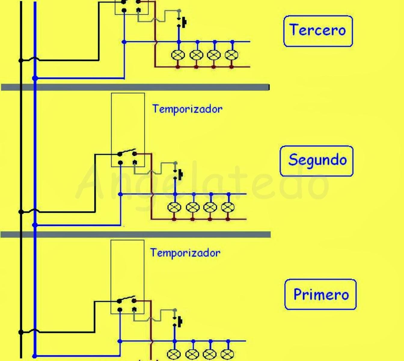 Minuteros autom ticos de escalera esquemas de conexi n - Como conectar un sensor de movimiento de tres cables ...