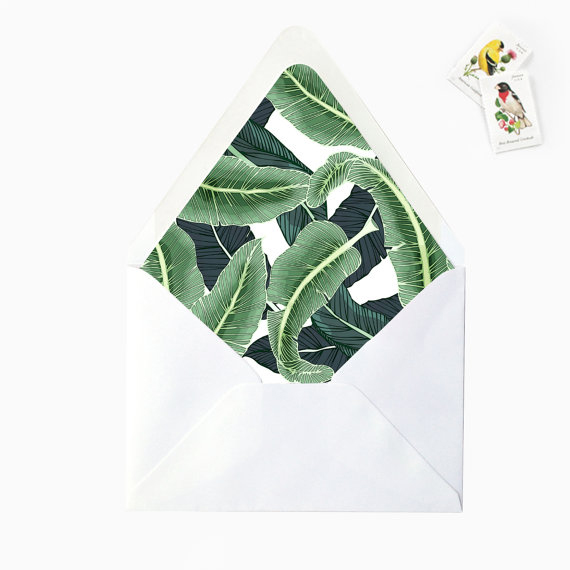 Tropical Banana Palm Leaves Envelope Liners by BlueInkStudio on Etsy