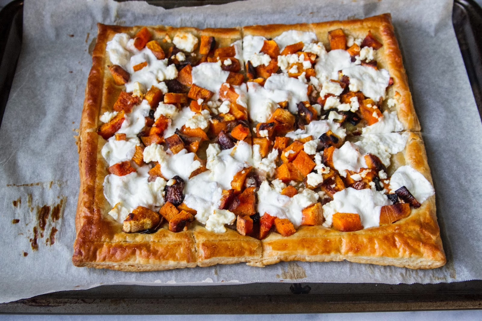 recipe: butternut squash goats cheese puff pastry [27]