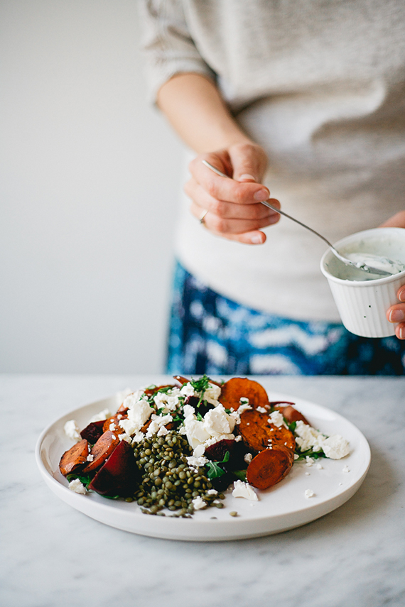 Roasted Vegetables and Lentil Salad w/ Feta and Yogurt/Garlic Dressing recipe by Renée Kemps