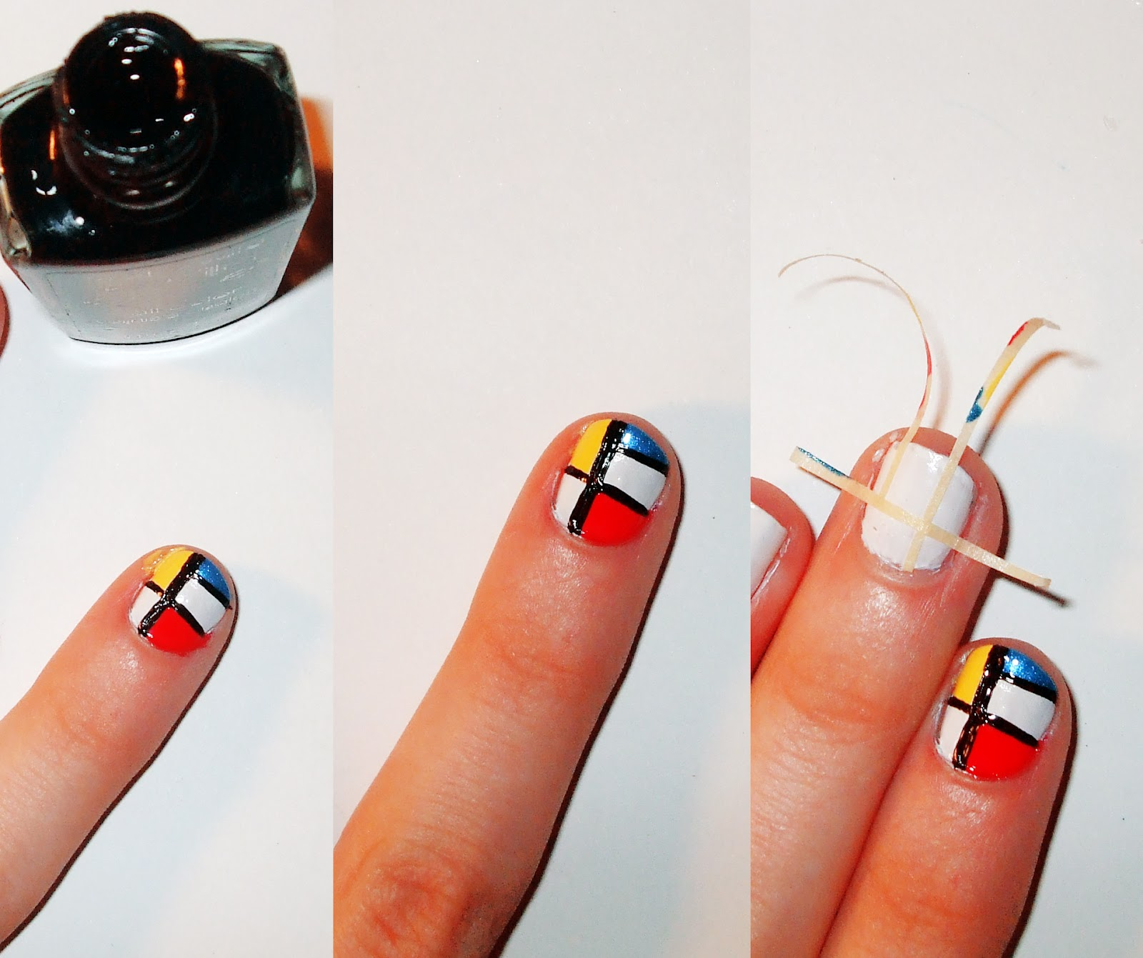 Step By Step Nail Art Using Tape: Quiet Lion Creations By Allison Beth Cooling: YSL Mondrain