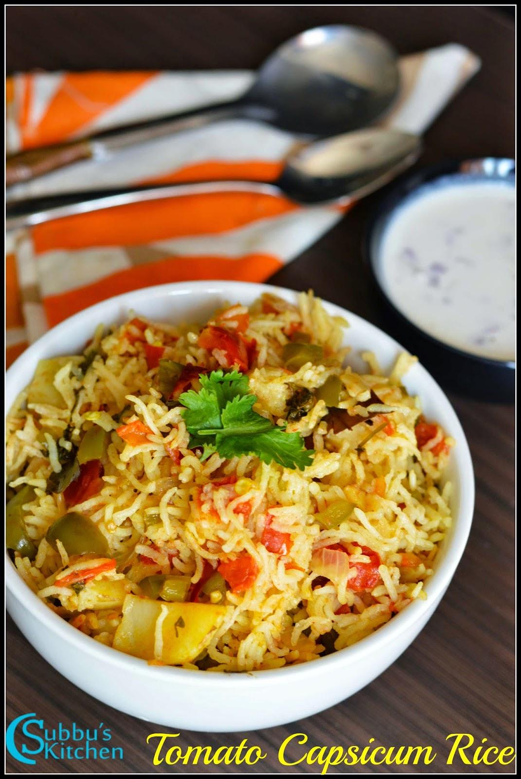 Andhra Tomato Capsicum Rice Recipe | Andhra Thakkali Kudamilagai Sadham Recipe