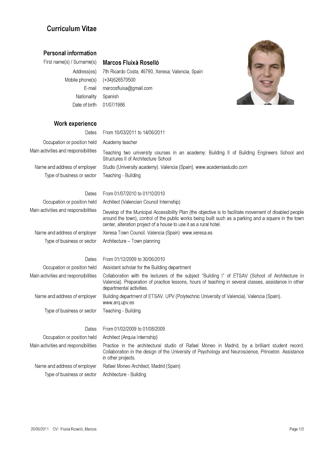 resume format  curriculum vitae exemple gratuit in english