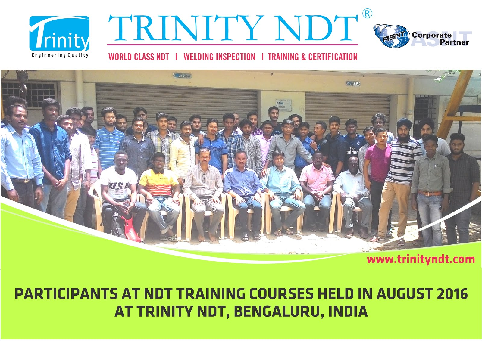 August 2016 Participants at Trinity NDT Certification Couses