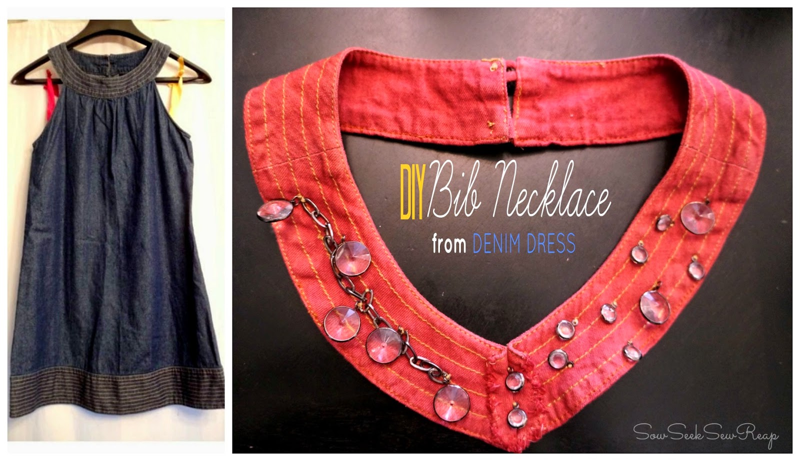 diy bib necklace, denim necklace, rit dye denim,