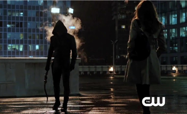 Arrow Oliver Laurel Stephen Amell hood bow Katie Cassidy photos pics