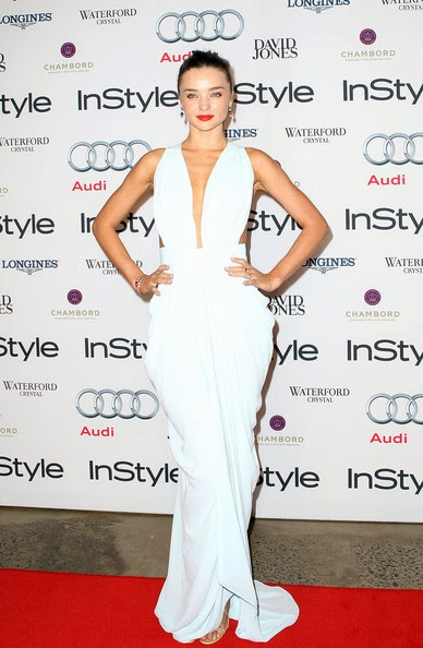 Miranda Kerr in a billowy powder-blue gown from Australian designer Carla Zampatti at the 2012 Women Of Style Awards held at the Carriage Works on May 15, 2012 in Sydney, Australia.