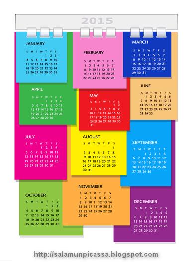 Color Stickers Calendar 2015 Vector