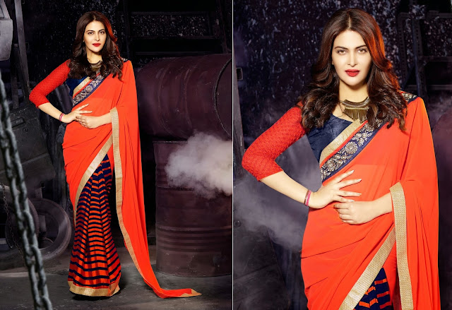 Orange & Blue Georgette Saree With The Simple Lace Border & Zari Work
