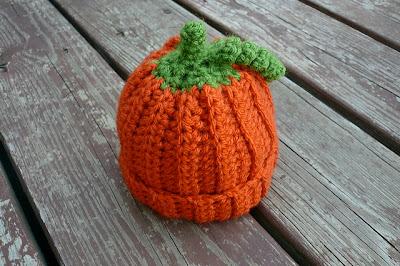 free crochet pattern 0-3 months pumpkin beanie