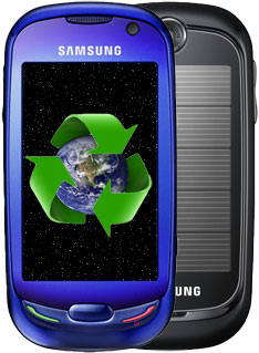 Samsung S7550 Blue an Eco friendly phone called Blue Heart