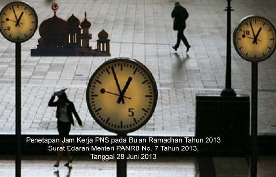 Penetapan Jam Kerja PNS Bulan Ramadhan | SE MENPANRB Nomor 07 Tahun 2013