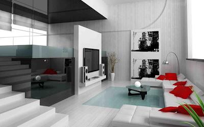 foto sala moderna color blanco y acentos rojos