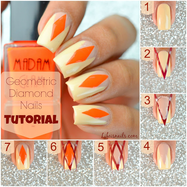 Geometric diamond nail art tutorial