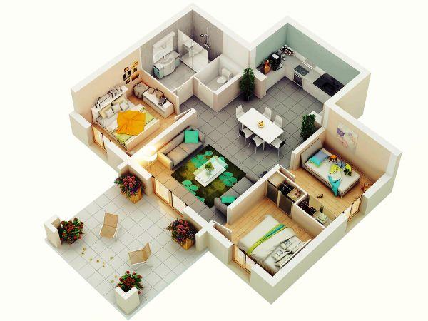 Desain Rumah Minimalis 1 Lantai 3 Kamar Tidur