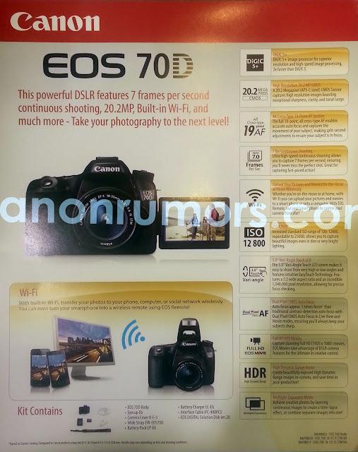 Fotografia di un volantino pubblicitario della Canon EOS 70D