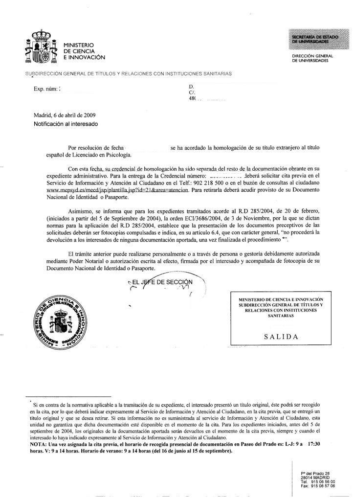 Psic logas y psic logos uruguayos en espa a homologaci n for Ministerio de seguridad espana