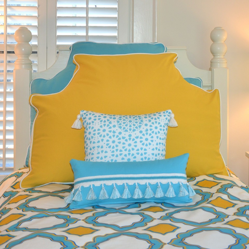 Hospitable pursuits adorable dorms for Headboard made pillows