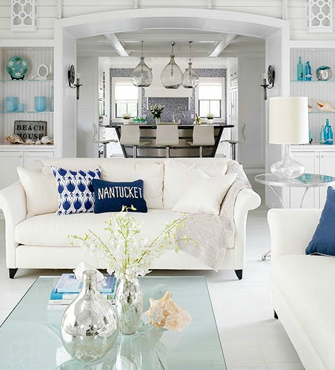 Coastal Living Room Color Ideas from Better Homes and Gardens   White Nautical Coastal Cottage Living Room. Coastal Living Room. Home Design Ideas