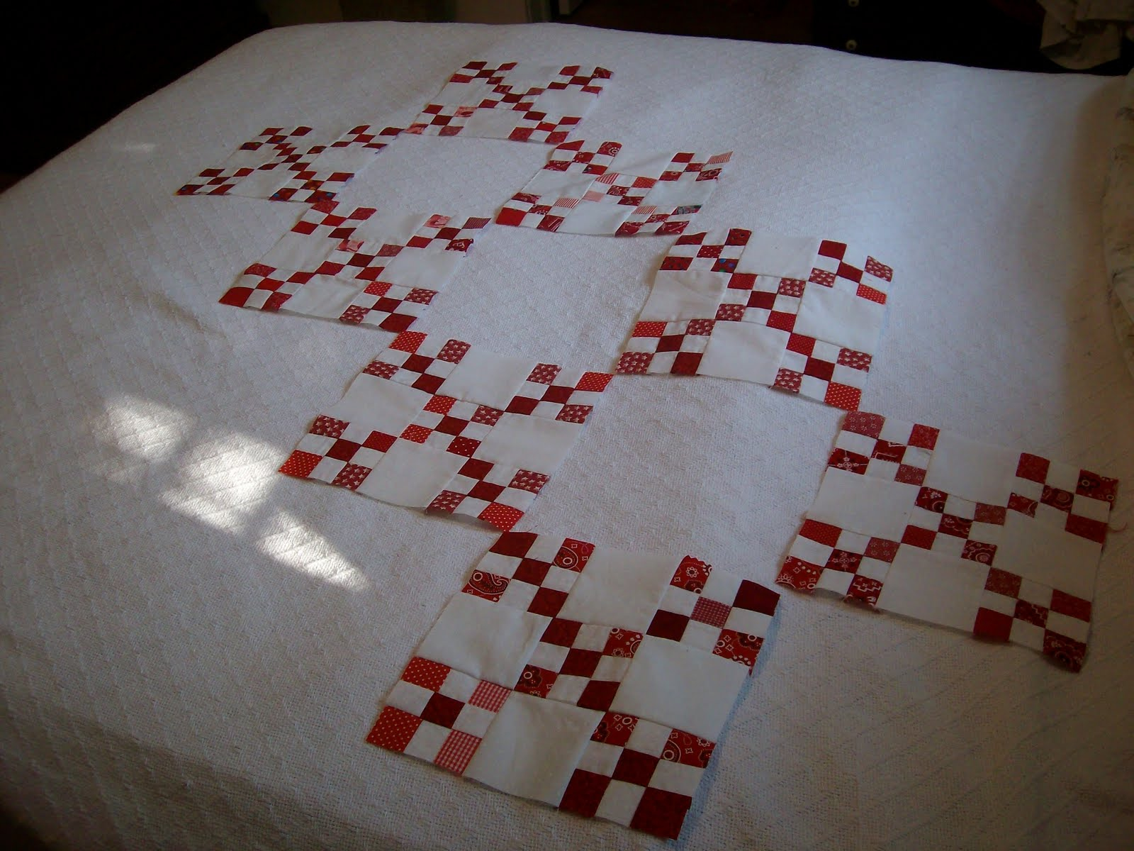 Angel Scraps Quilting: WIP Wednesday- Red and White Double Nine Patch : double nine patch quilt - Adamdwight.com