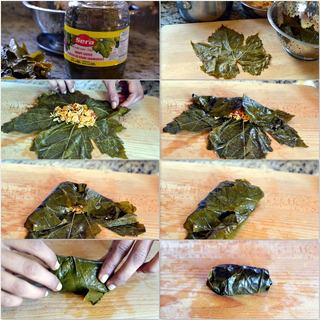 Pictorial for making Turkish Sarma -- Stuffed Grape Leaves (Vegetarian recipe)