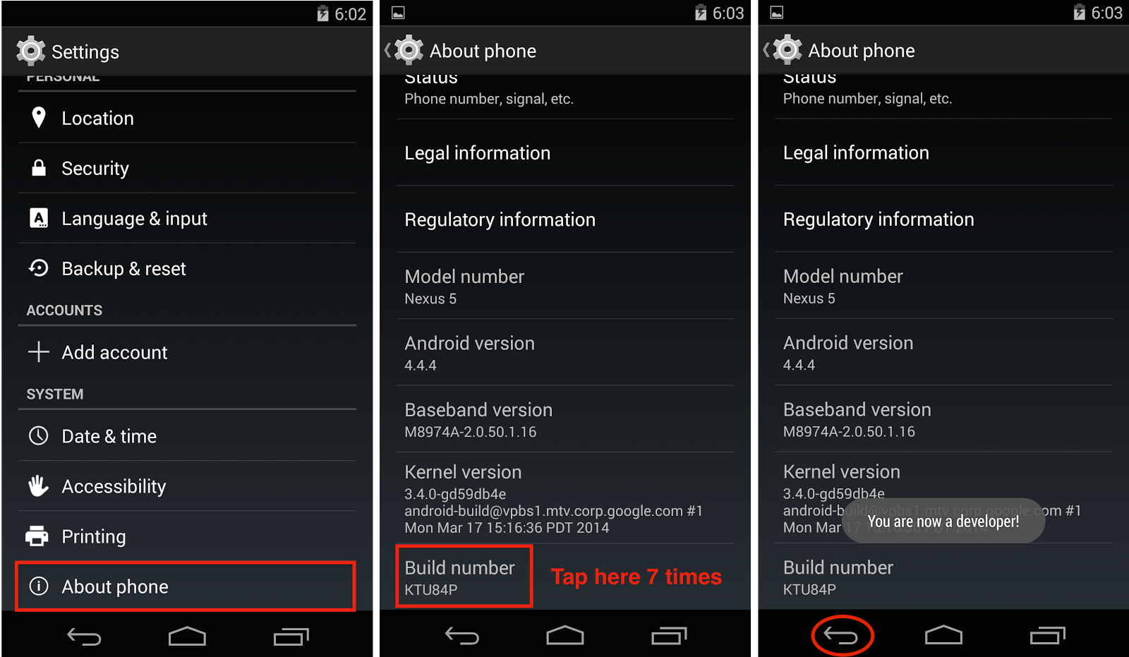 Nexus 5 about phone build number