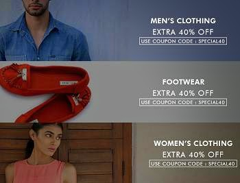 Flat 40% Extra Discount on Men's / Women's Clothing & Footwear @ Myntra (No Min Purchase)
