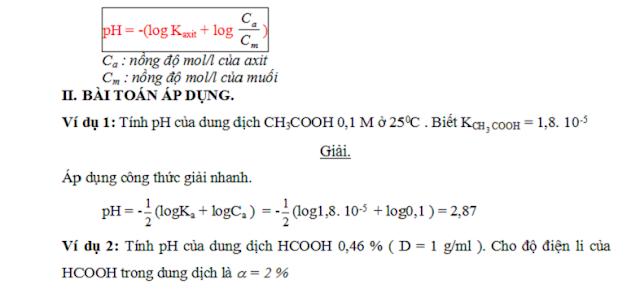 công thức tính nhanh pH và pOH - gia sư tại nhà - 1