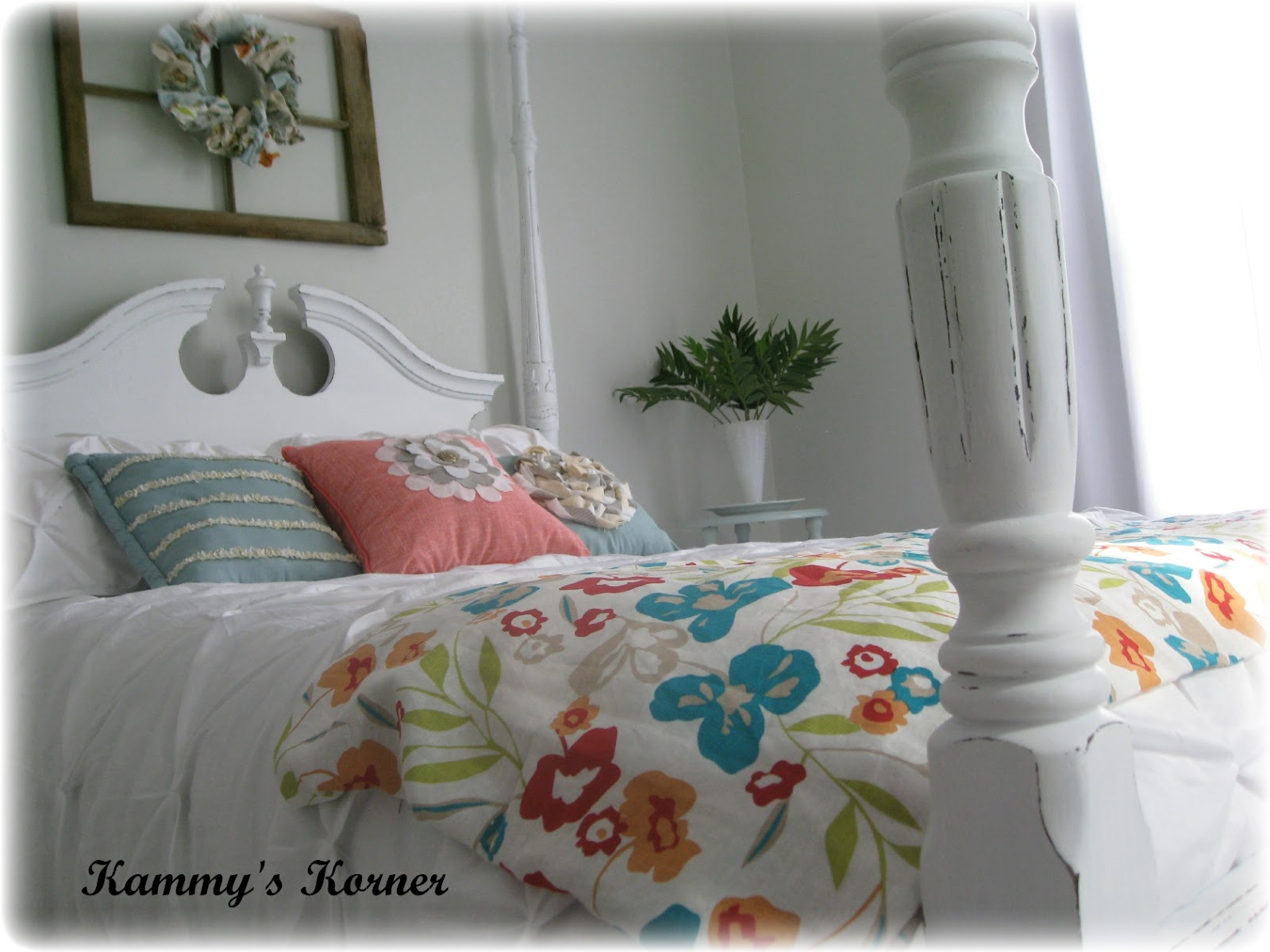 . Kammy s Korner  Four Poster Bed  Cherry Finish Meets Shabby Chic