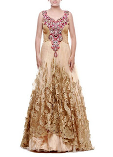 Zeeia Beige Floral Embroidered Anarkali Gown | Zeeia Beige Net Layered Anarkali Gown