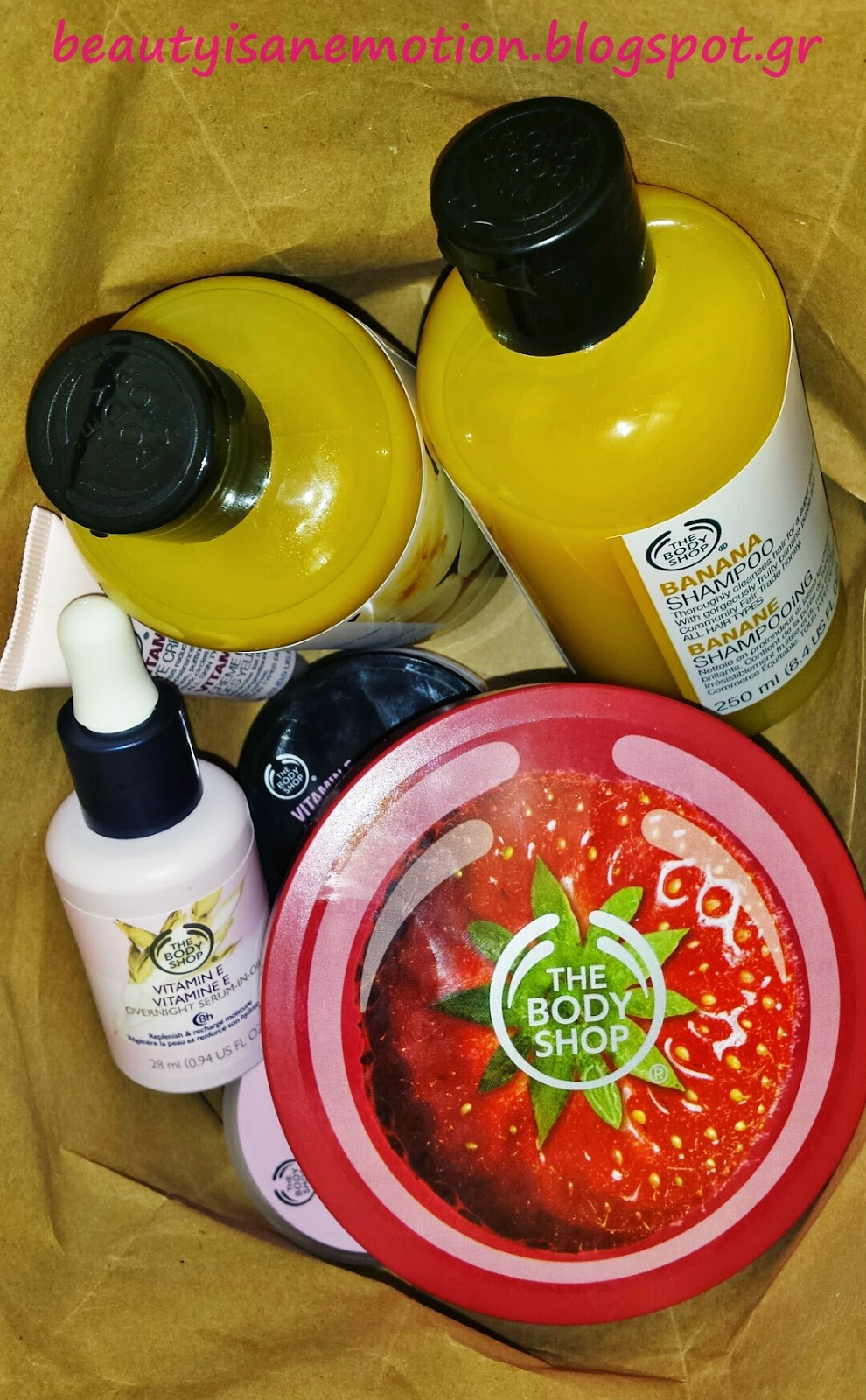body shop haul vitamine E strawberry banana