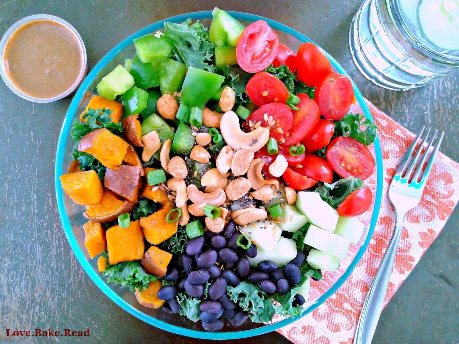 Loaded Veggie Kale Salad with Almond Butter Dressing     Love.Bake.Read