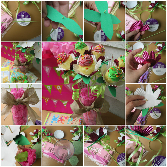 How To Make A Simple Mini-Cupcake Long-Stem Flower Bouquet Image Tutorial #SendSmiles