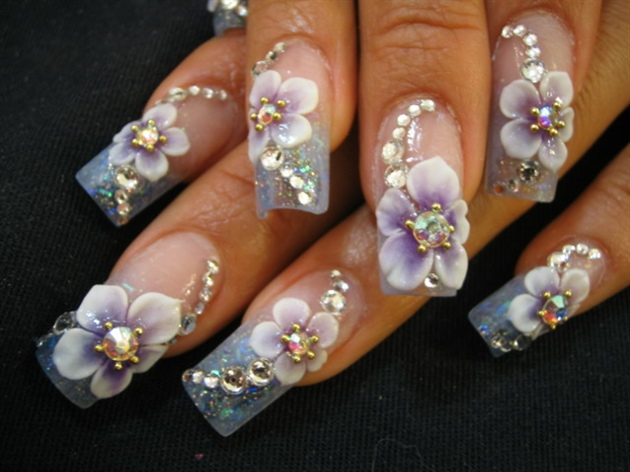 beautiful 3d nail art flowers fashionate trends