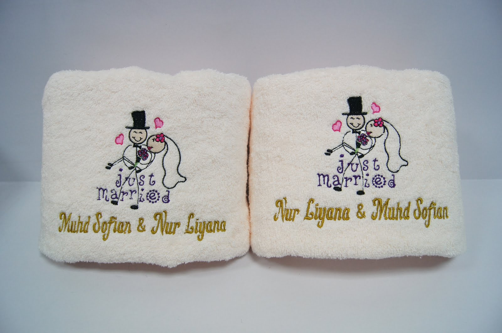 Wedding Gifts For Couples In Singapore : ... Personalized Gifts: Personalized Towel Embroidery Gifts in Singapore