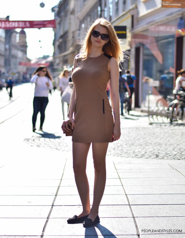 zagreb street style 2015, How to wear neutral bodycon mini dress and ballerinas, street style outfit inspiration, Marta Hohnjec, studentica prava