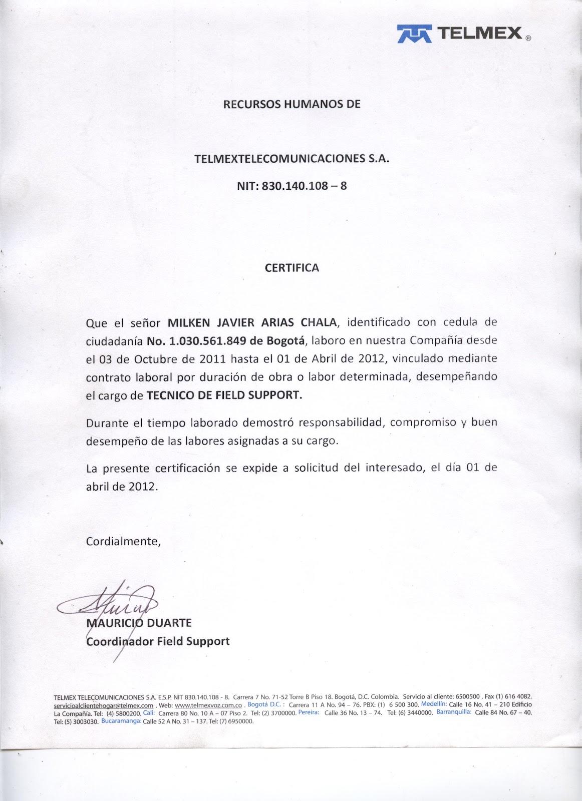 Milken Javier Arias Chala Agosto 2011