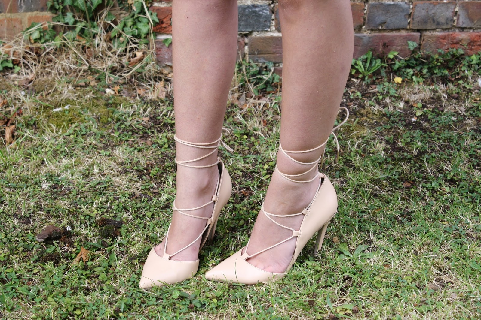 ASOS lace up nude pointed shoes