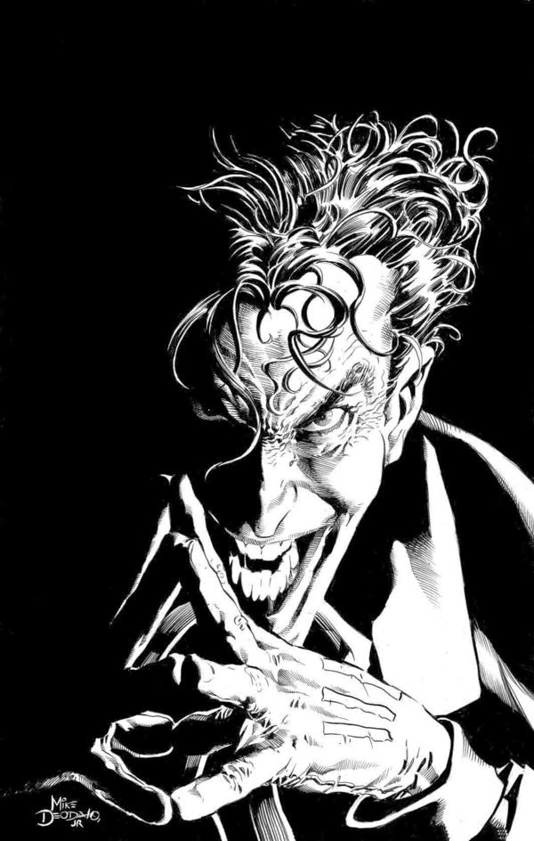 The Joker close-up B&W Drawing by Mike Deodato, Jr.