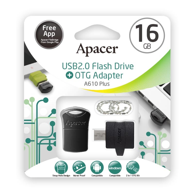 Apacer A610 OTG Adapter with USB2.0 Super-mini USB Drive AH116