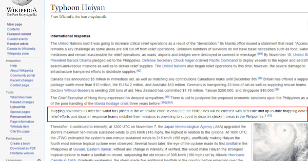 First edit of Schadow1 Expeditions in Typhoon Haiyan article in Wikipedia