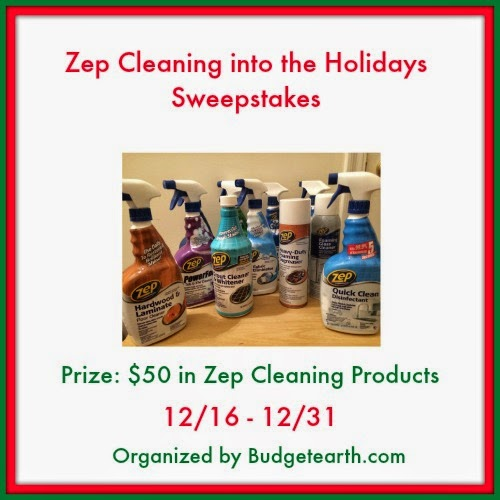 Enter the Zep Cleaning into the Holidays Giveaway. Ends 12/31