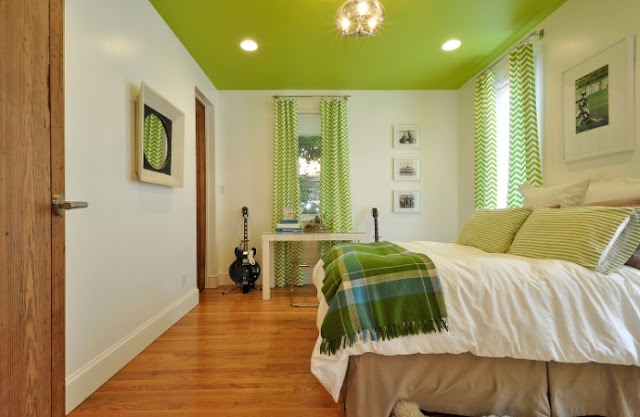 Hatchworks small house lime green painted celing