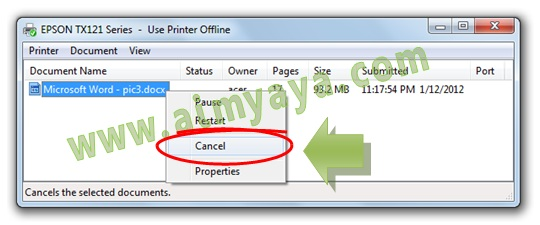 Gambar: Cara membatalkan /menghentikan proses pencetakan (printing) dokumen Microsoft Word di spooling printer