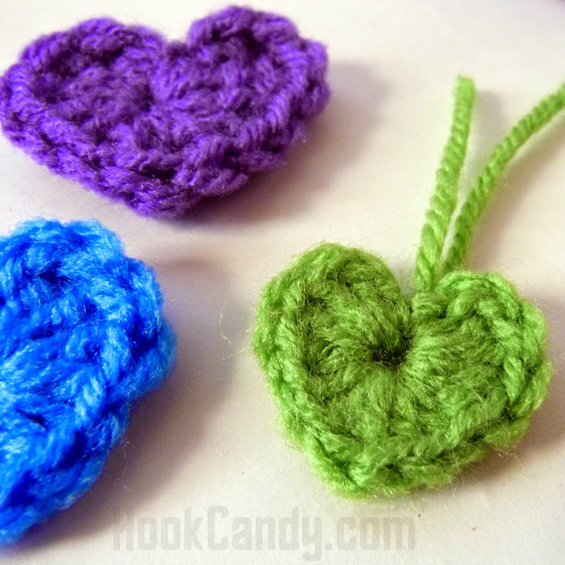 Hook Candy Blog Simple Tiny Crocheted Heart Free Pattern With Video