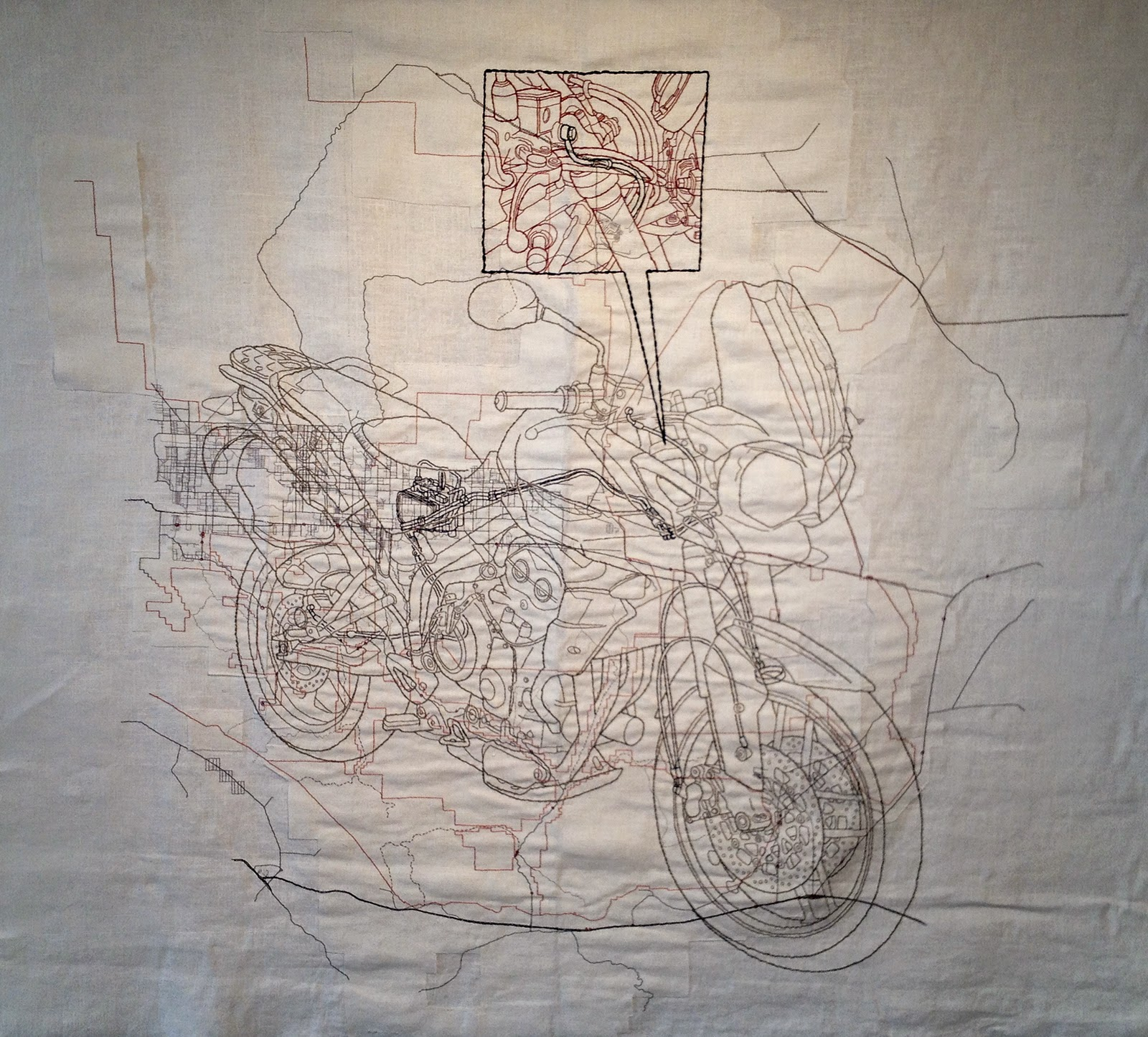 triumph cotton floss on linen burlap 69 x 75 inches 2013