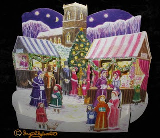 Traditional Victorian Market 3D pop up Christmas Cards for sale
