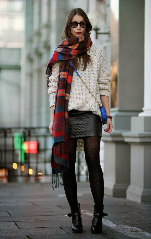 Colorful Scarf with Blue Long Bag and Short Black Skirt, Amazing White Sweater and Black Leather Boots