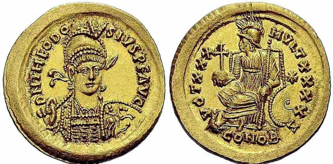 Moneda del emperador romano Teodosio II